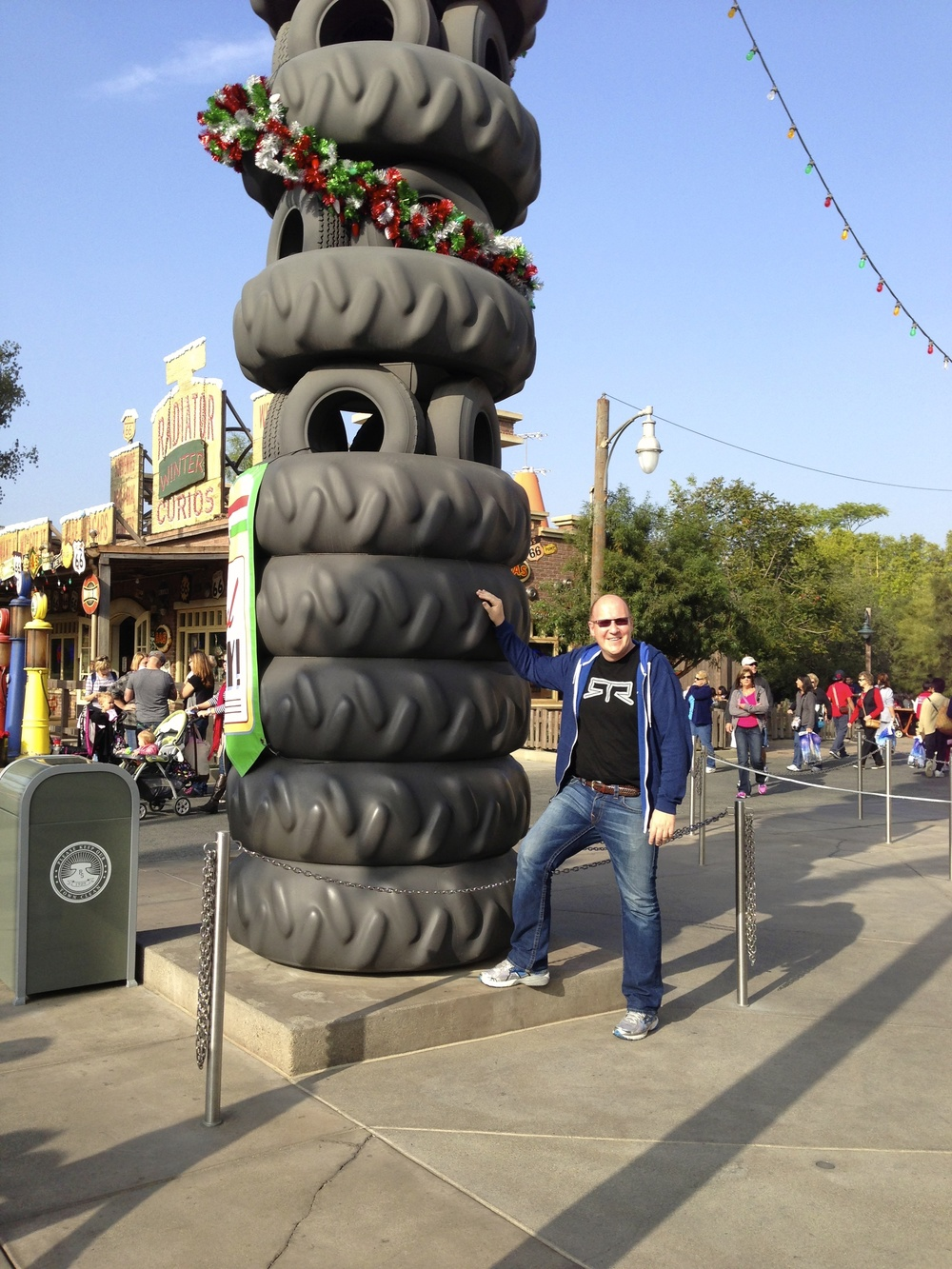 Tire Christmas Tree. I think this stack of tires is probably a fixture in the land, but they decorated it for the holidays.
