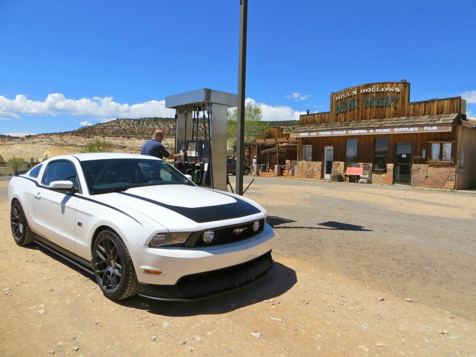Thunder fueling up at a station near the Burr Trail Grill. We almost grabbed food in the station, because we had not seen a restaurant for hours. Luckily, we waited and the Burr Trail Grill was down the road.