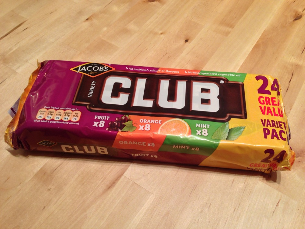 A variety pack of Jacob's Club biscuits.
