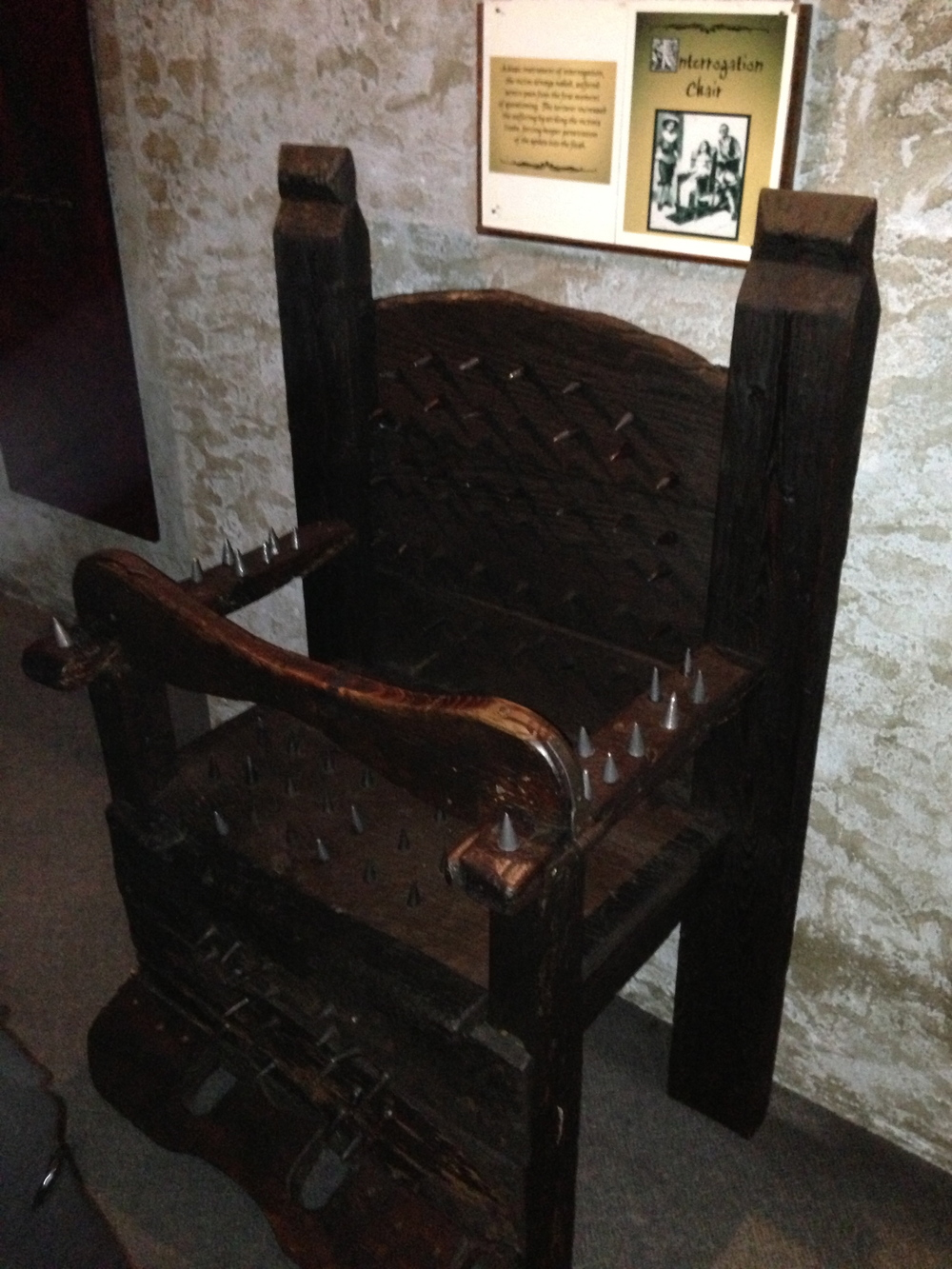 Spiked torture chair.