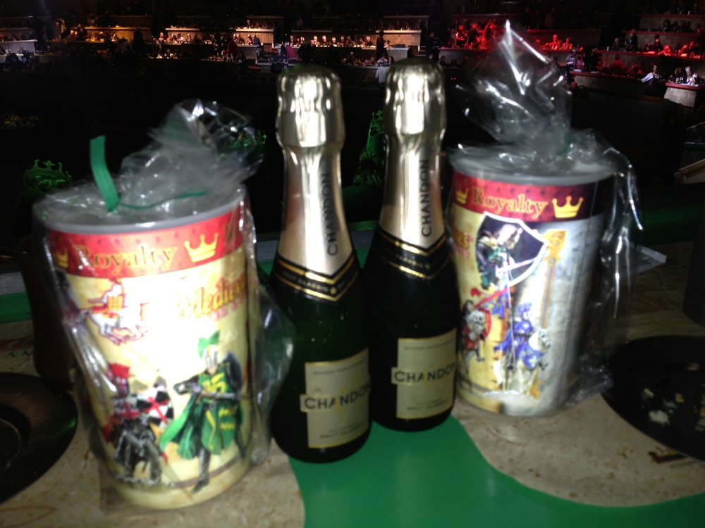 Our bottles of champagne and NYE cups. The champagne was terrible, we tossed it after a few sips (this was a very sober NYE), but the thought behind it all was nice. I wish that I had asked for sparkling cider instead.