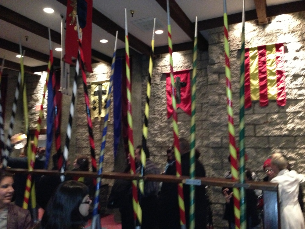 The Hall of Flags, aka the queue to wait for your seating assignment and crowns. It's a bit like the Sorting Hat.