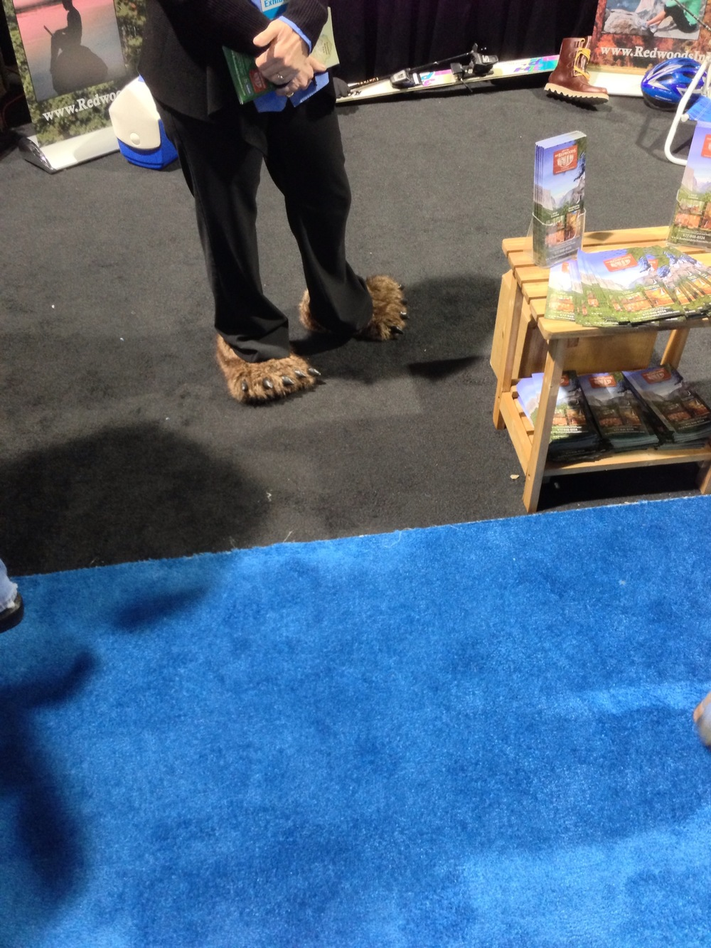 A woman from Yosemite tourism was sporting bear slippers. This is one of the things that had me sold on a Yosemite trip.