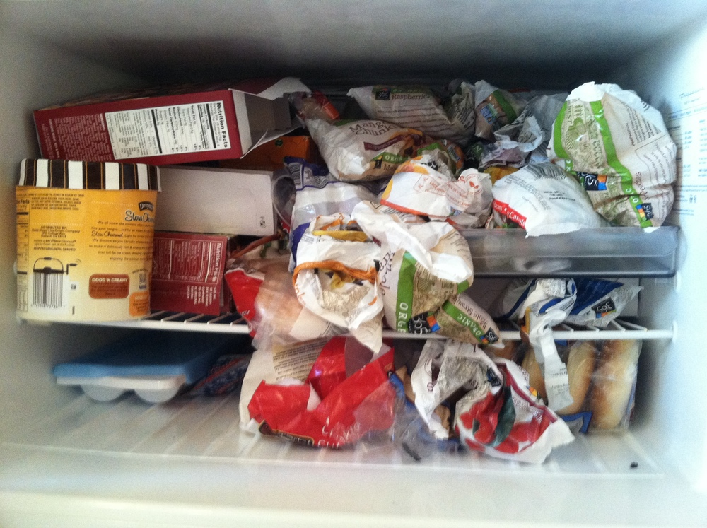 Yes, that's ice cream...but I swear that most of the freezer has healthy foods.