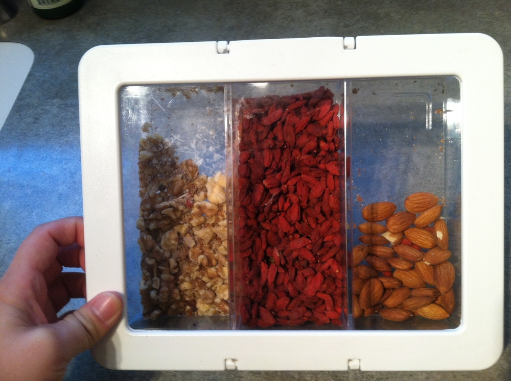 One container of nuts.