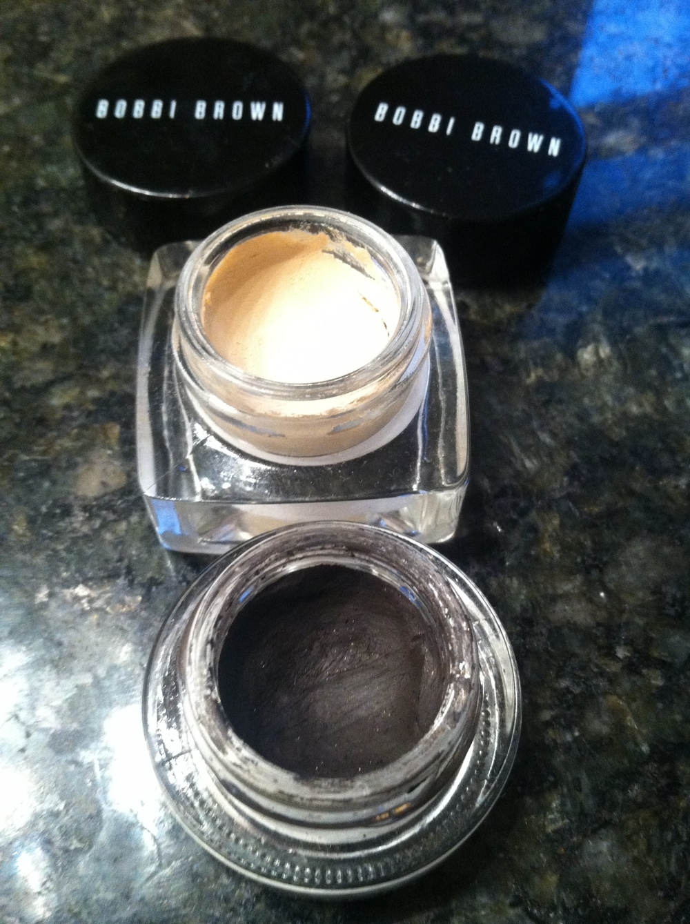Long-wear cream shadow and gel liner, two indespensible products from Bobbi Brown.