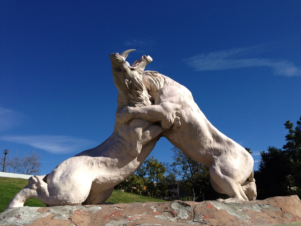 Saber Tooth Cats sculpture outside of the museum.
