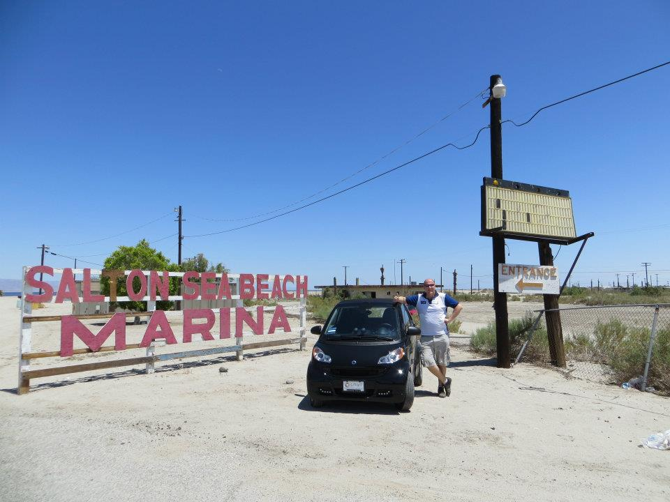 The abandoned Salton Sea Marina.