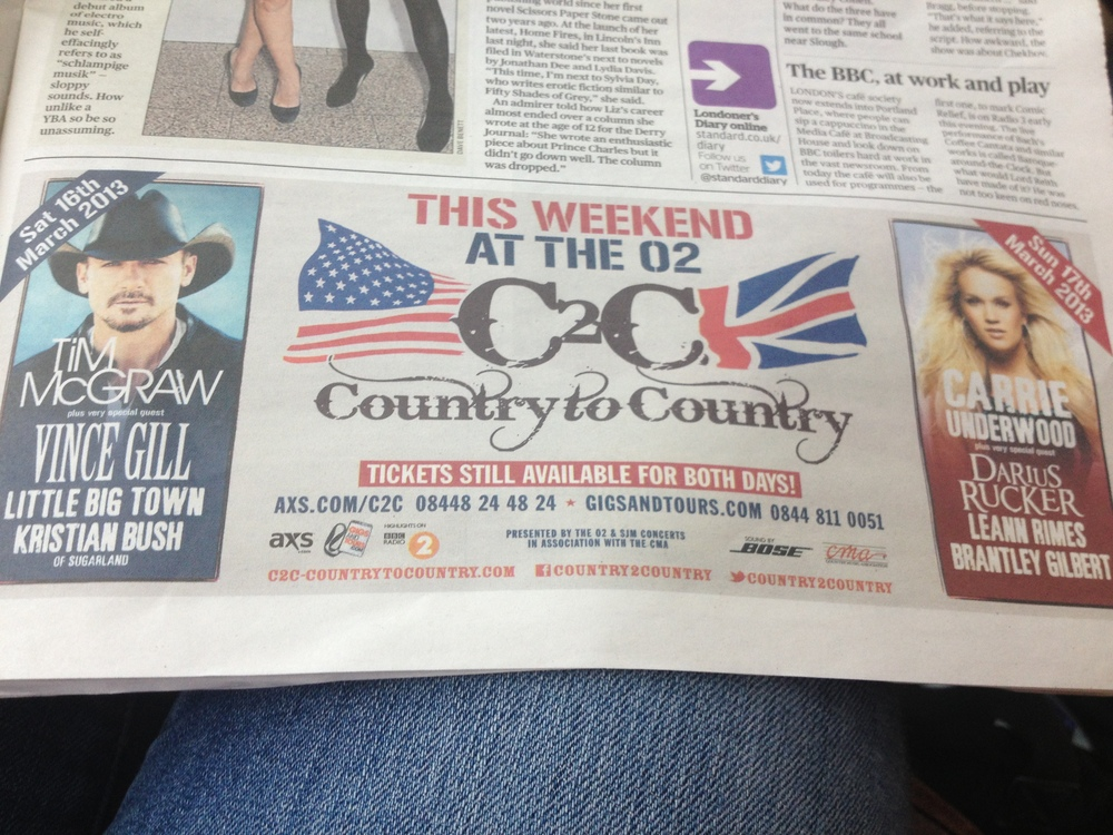 I can move to England and still go to country concerts!