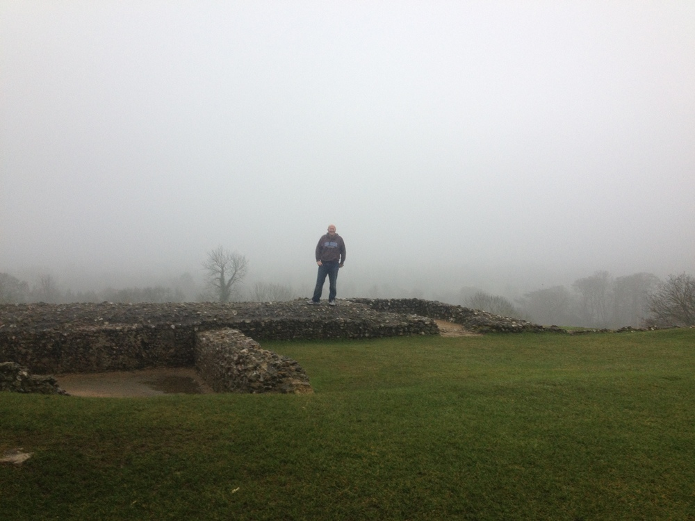 Dan in the mist at Donnington Castle