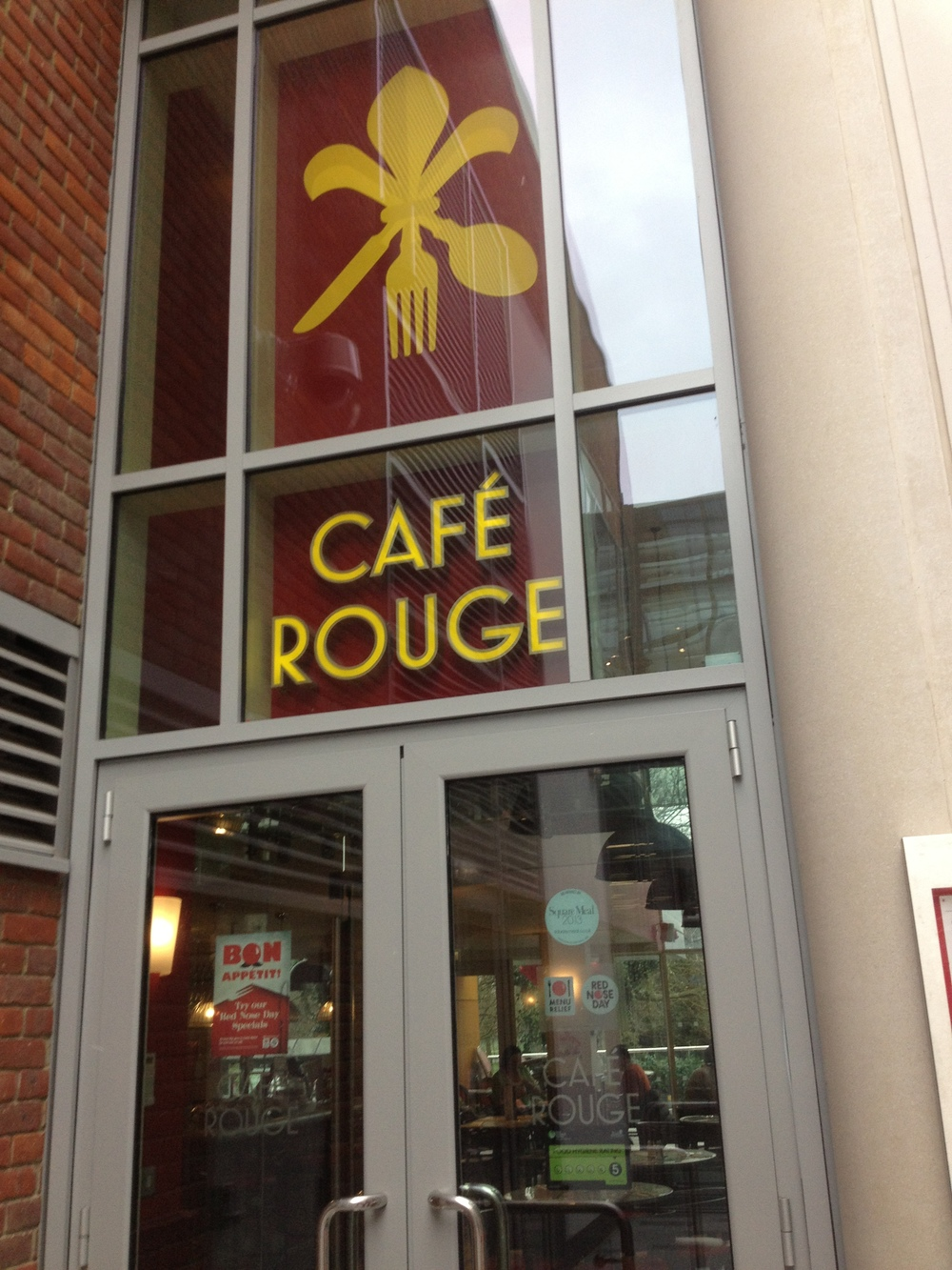 The exterior of Cafe Rouge.