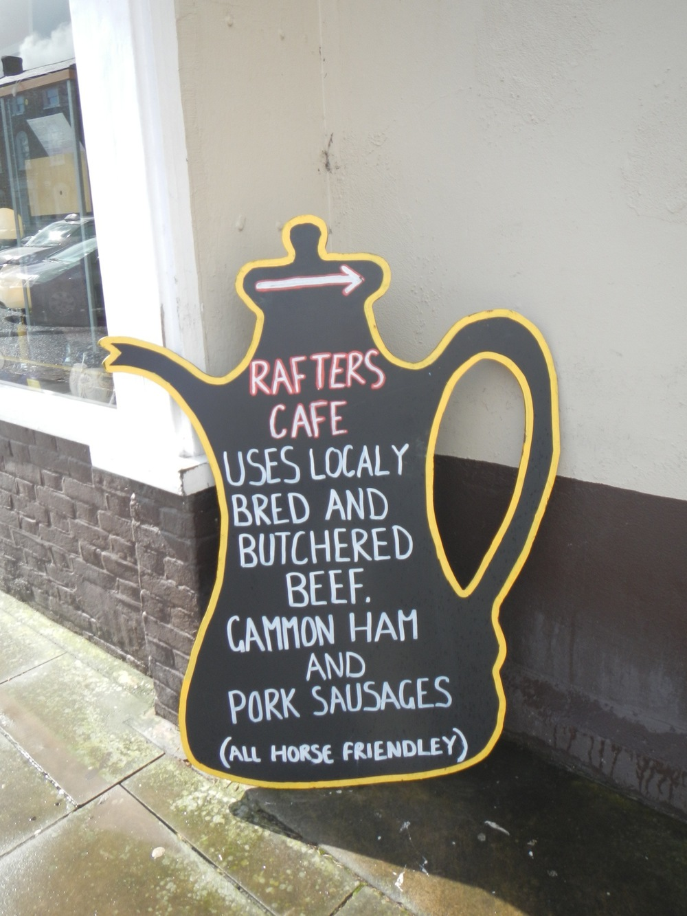 Cute sign for Rafters Cafe