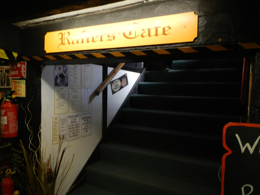 The second set of stairs leading to the cafe