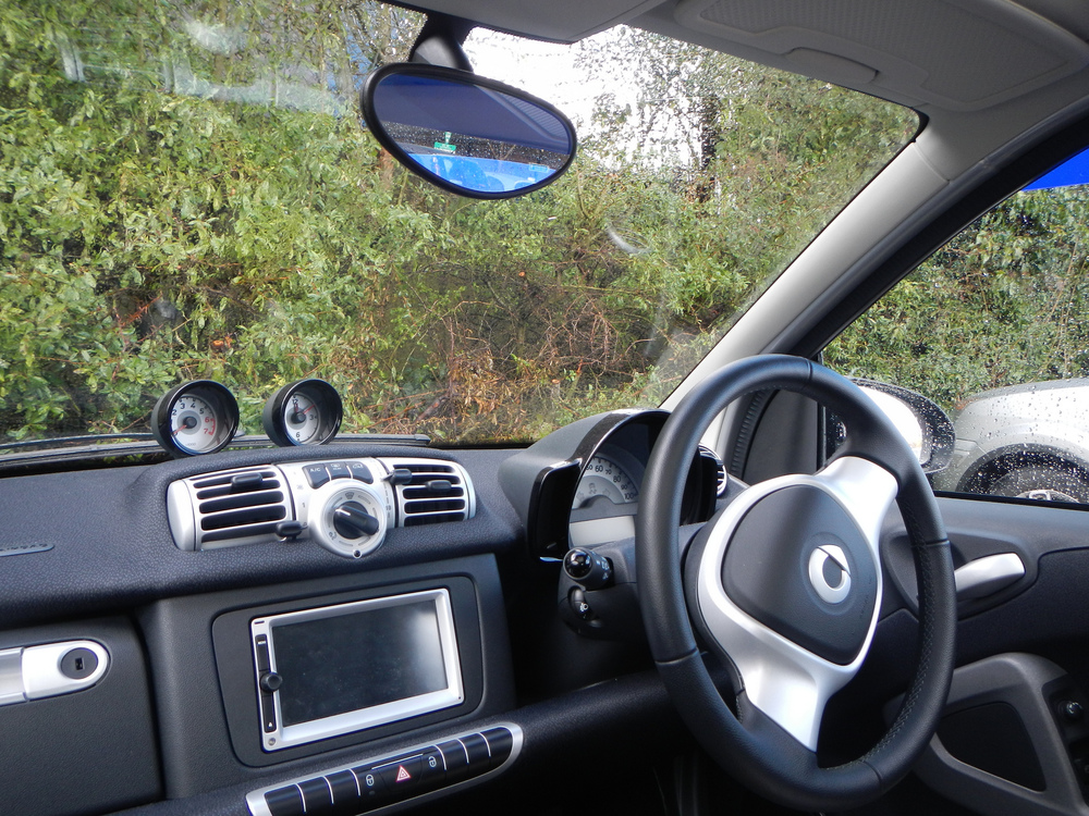 The interior of their Smart.