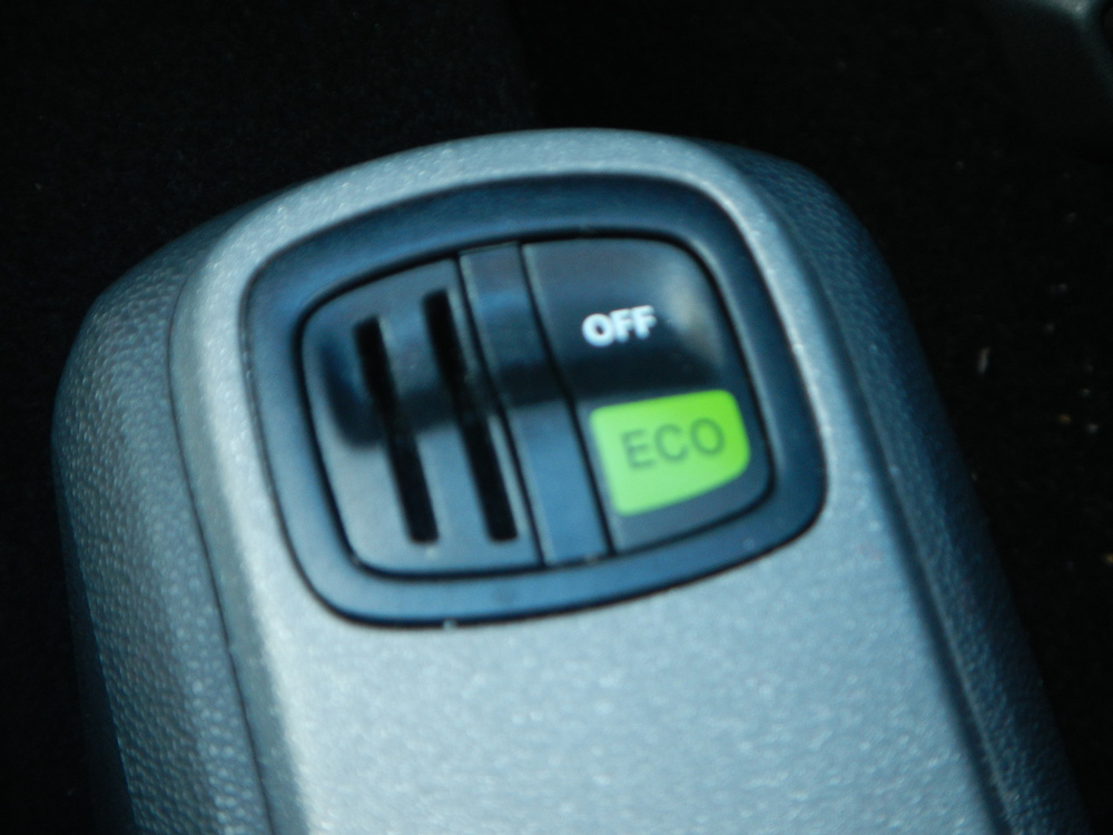 Their car has a feature that I had not seen, Eco. The engine shuts off when the car is at a stop.
