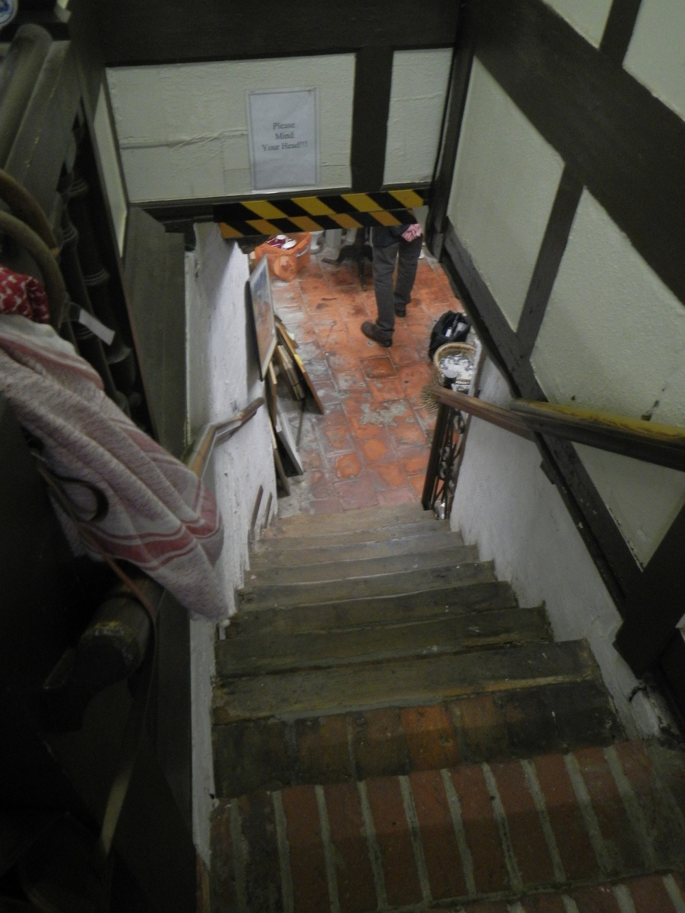 Steep stairs leading to the Junk Shop.