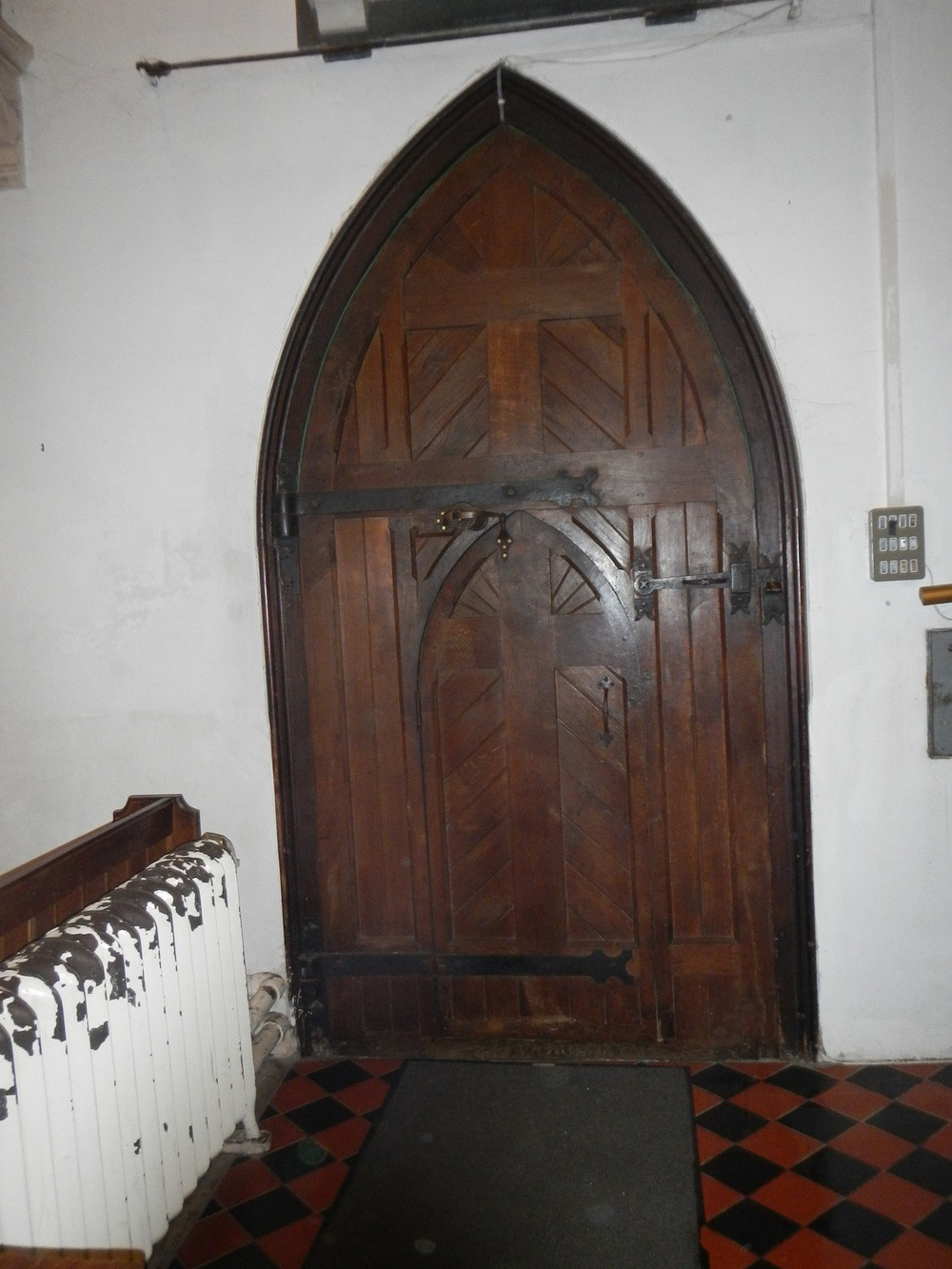 A small interior door. We had to bend to walk through it.