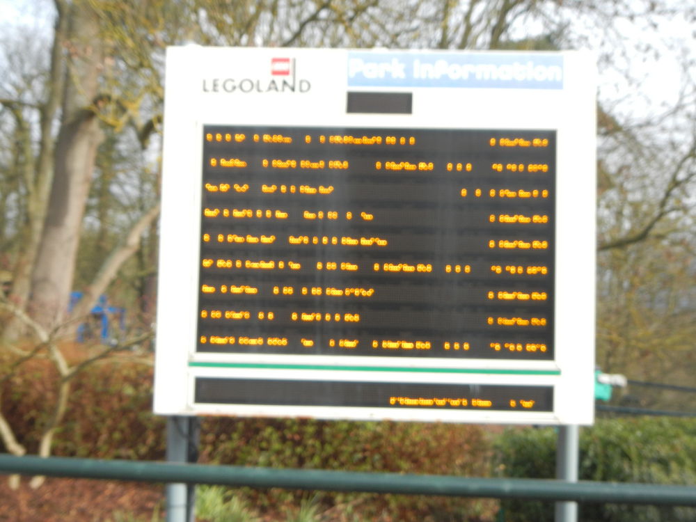 Legoland Windsor Digital Wait Time Directory (somewhere in an office, someone is updating this sign)