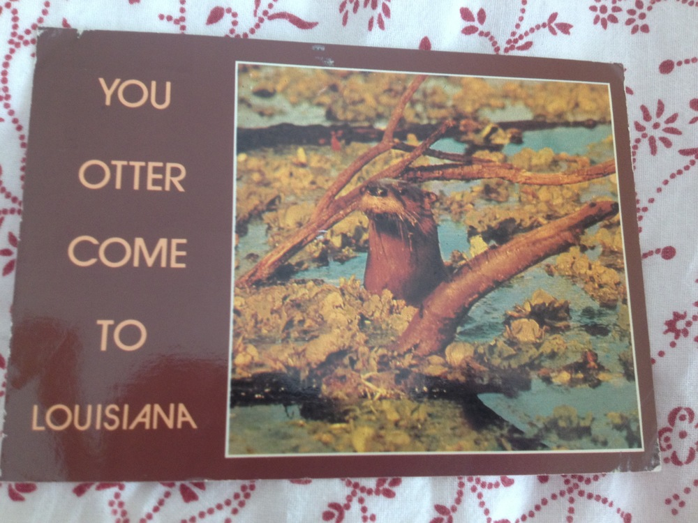 One from my friend Valerie, the wording makes me smile. Also, Louisiana is one of those goal destinations and would be my pick if I could have a ticket to anywhere in the US right now.
