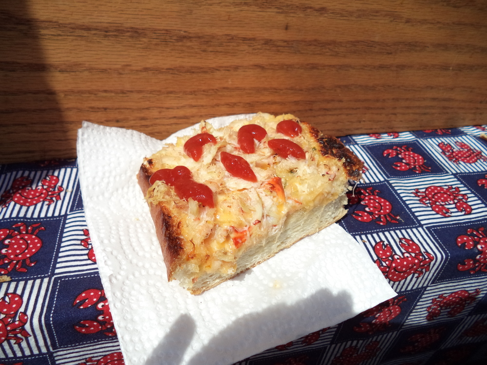Crab Melt covered in spicy sauce. So good!