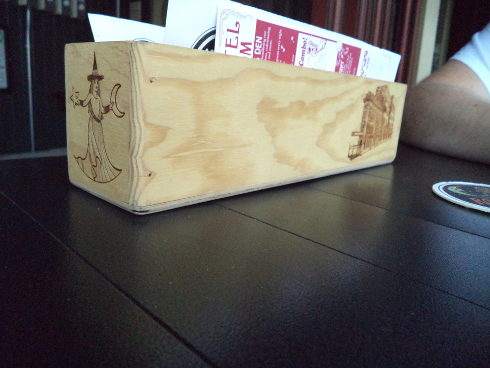 A wood box for the menus