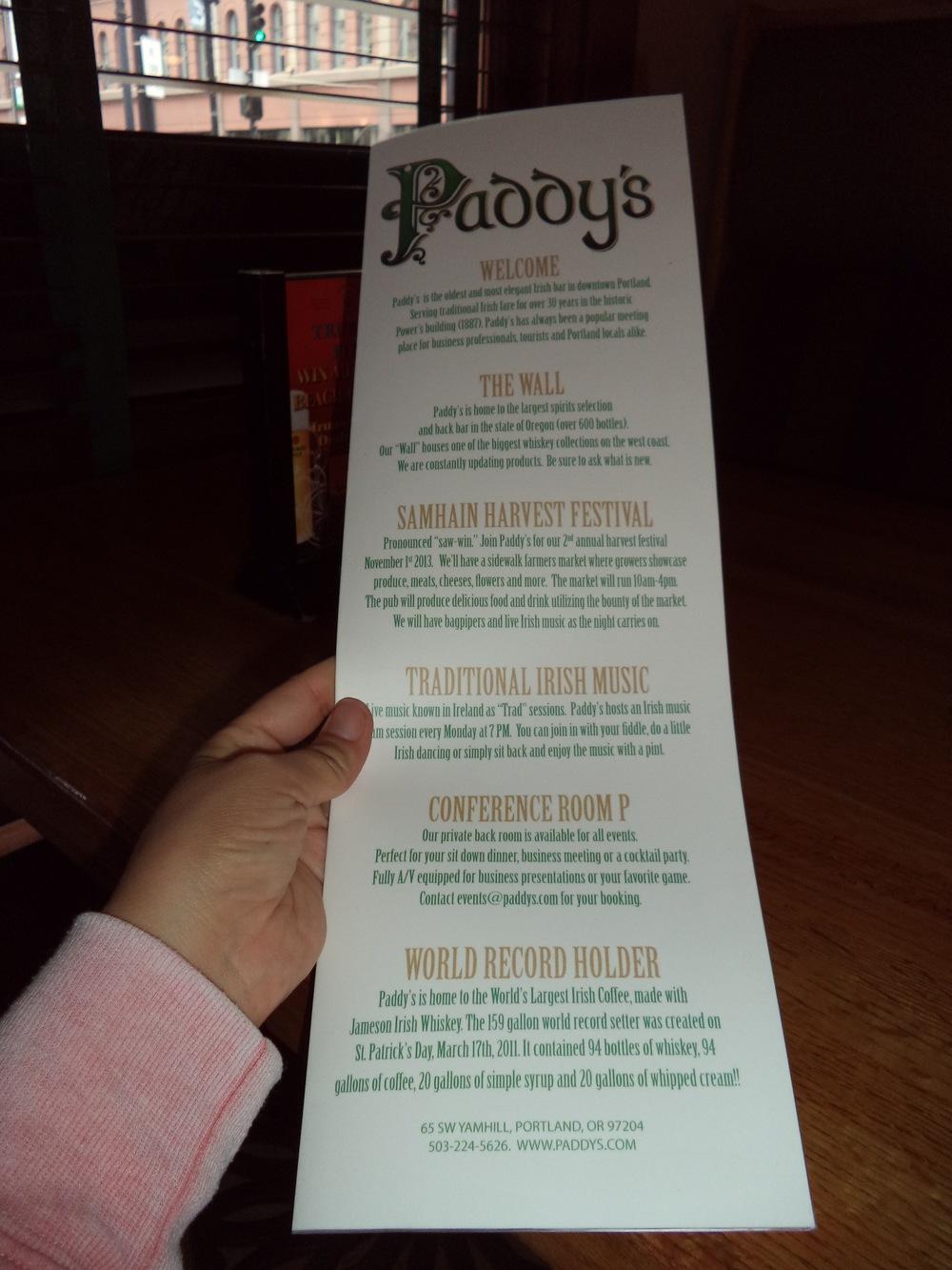 Paddy's menu