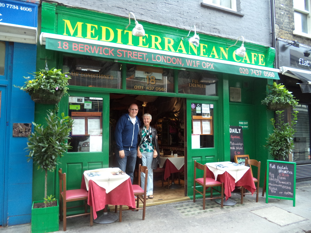 Dan and his mom, Jan  in front of the Mediterranean Cafe in London.