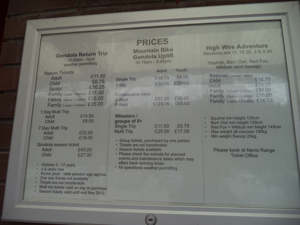 Ben Nevis Gondola Prices