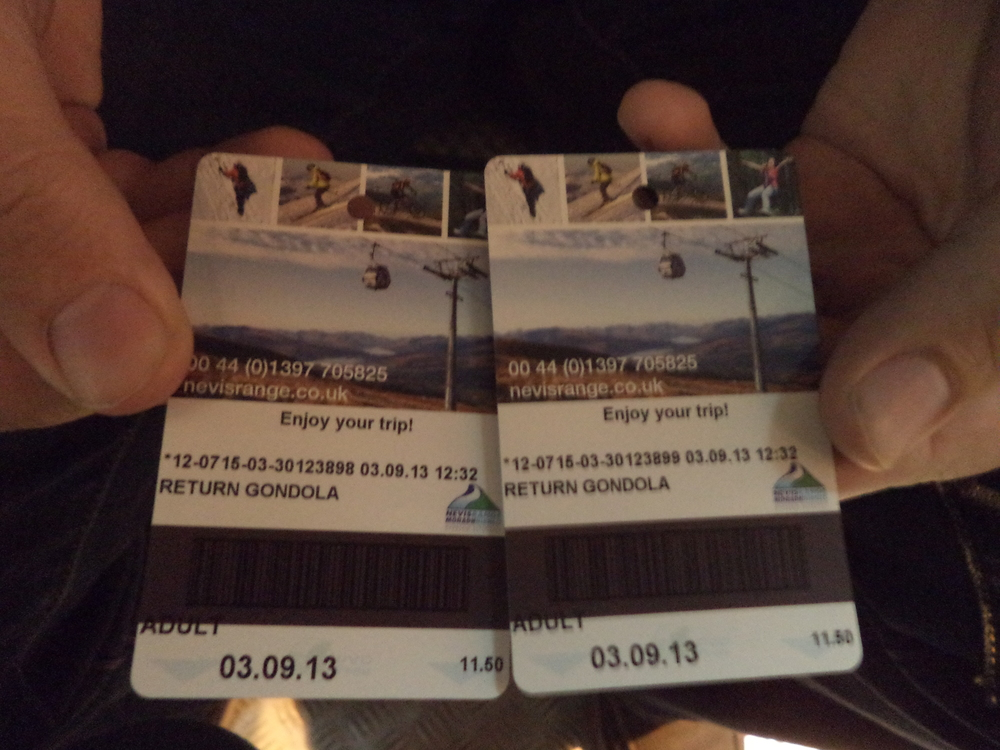 Our tickets.