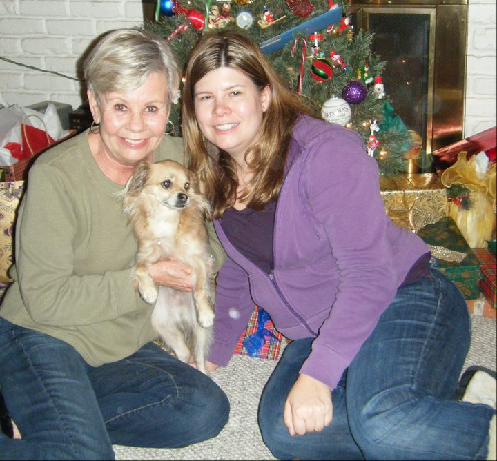 Christmas 2011 with her dog Molly.