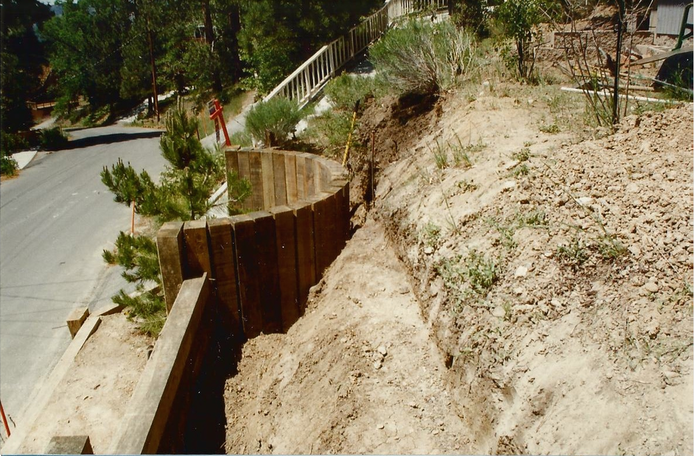One of the biggest and most important features of the house are the large retaining walls which basically keep everything on the hill from sliding down into the street below. There are actually two sets of walls holding back all the earth on the mountain. This is the wall closest to the street, as you can see it's of fairly solid construction and survived the 1992 earthquake.