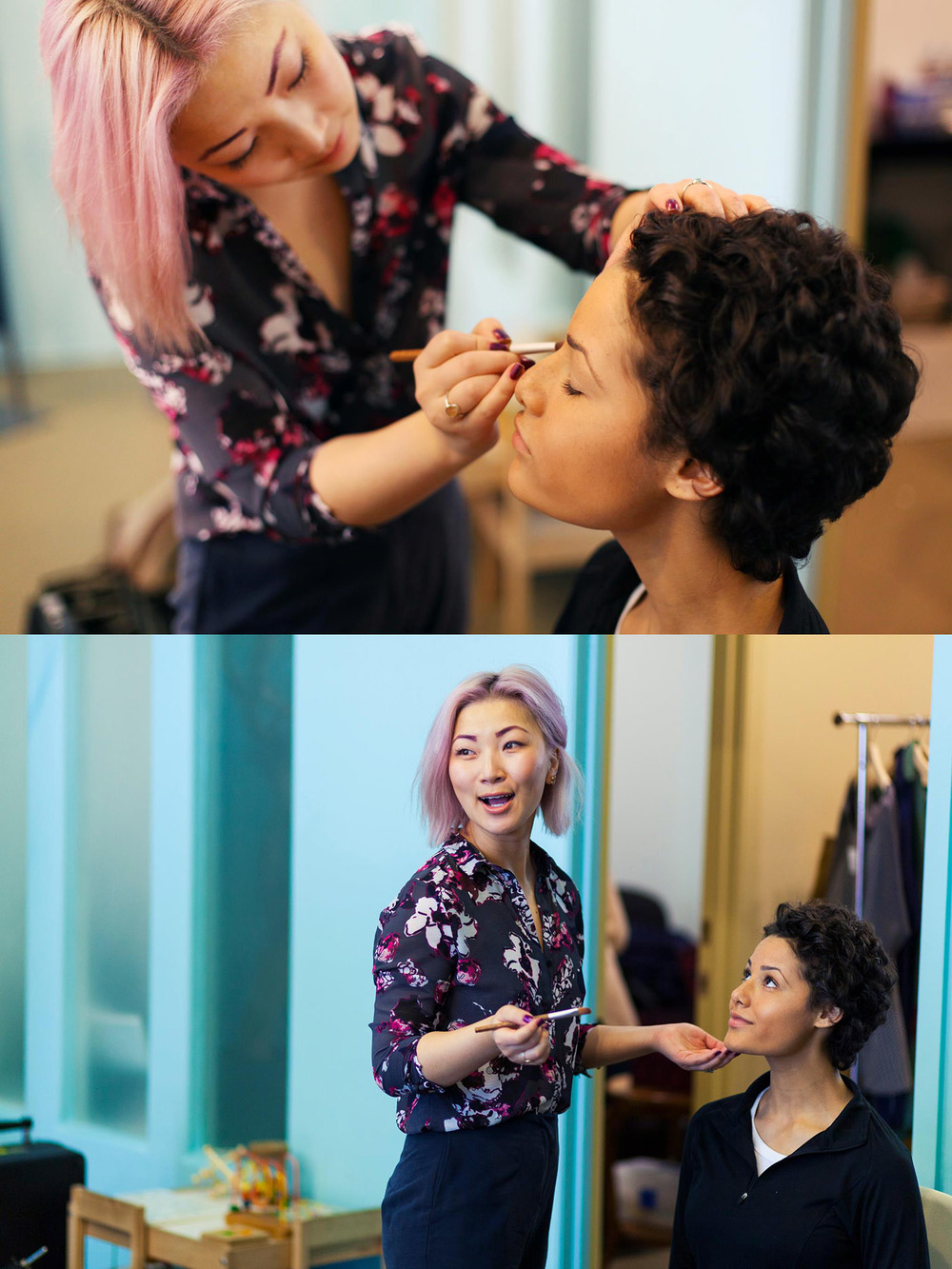 We had a great makeup artist, Anna Wu, working with us for the whole shoot. In these snapshots she is working on Alyssa for one of the featured look days.