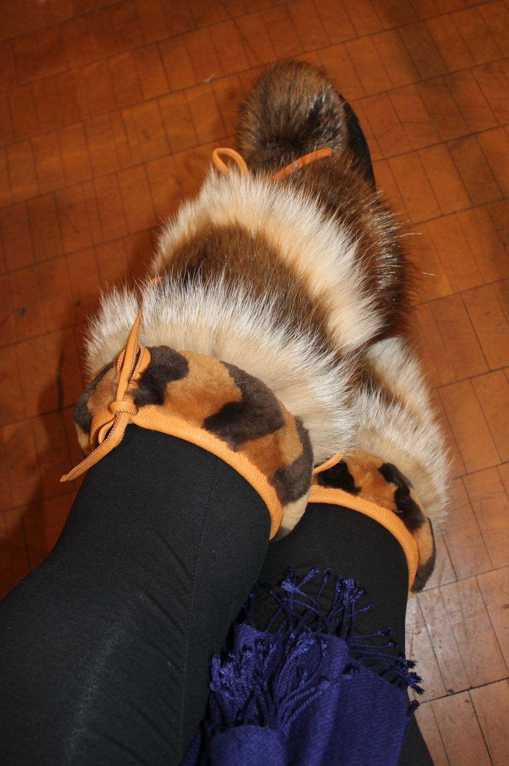 Beaver mukluks with lynx, sheared beaver trim, and removable sheepskin lining. Be still, my beating heart!