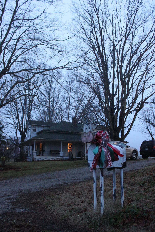 A cow mailbox, a charming farm.
