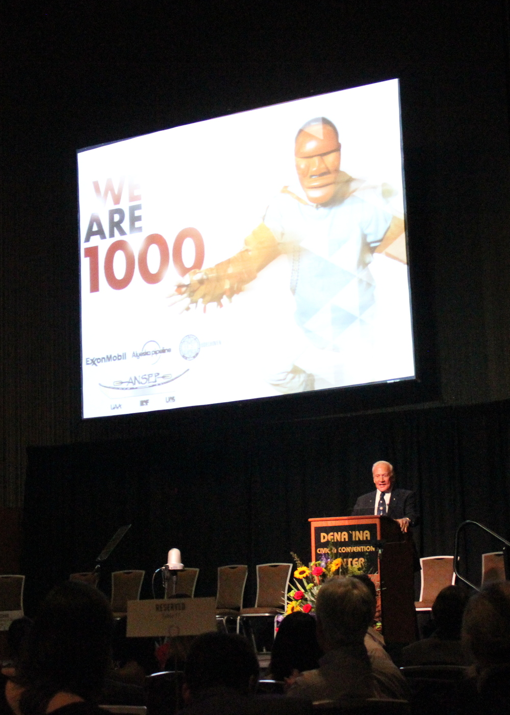 Buzz Aldrin presents to more than 1,200 attendees at the 2013 ANSEP Annual Banquet.