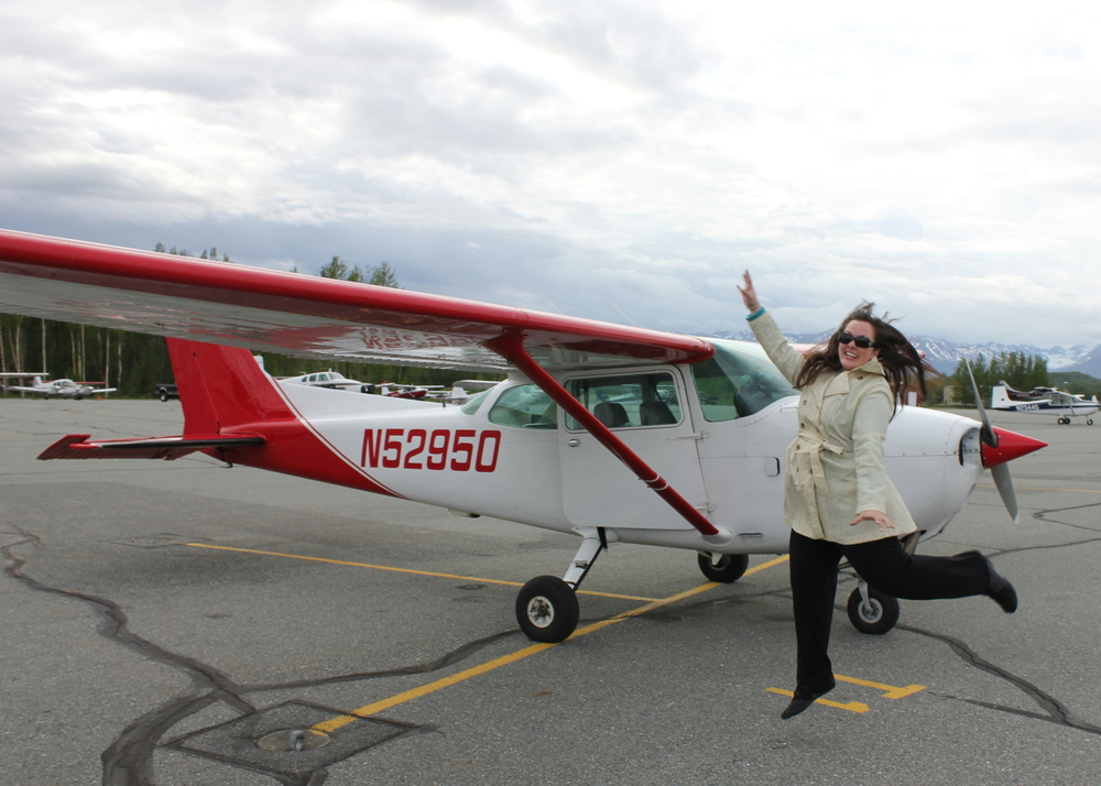 Jumping for joy because I got to take this Cessna 182 from Anchorage to Palmer and back!