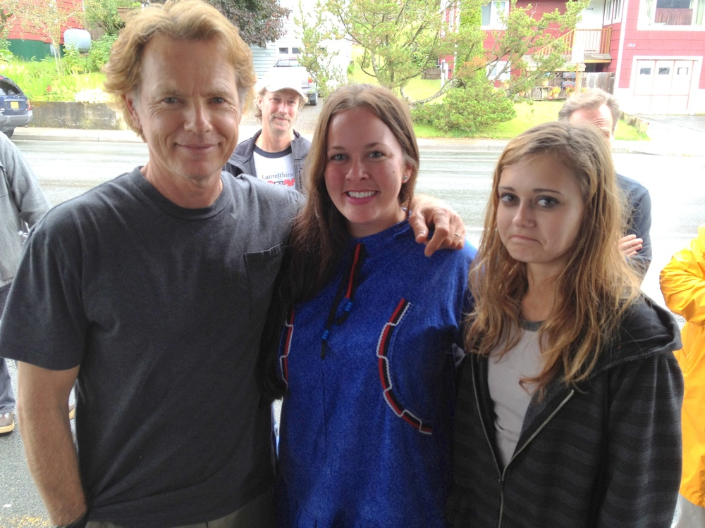 "With actors Bruce Greenwood (Star Trek, iRobot) and Ella Purnell (Never Let Me Go, Intruders) during the Juneau location filming of ""WildLike.""  I was cast as an extra in the film, and I also happen to be the only person in the movie wearing a traditional Native Alaskan kuspuk!"