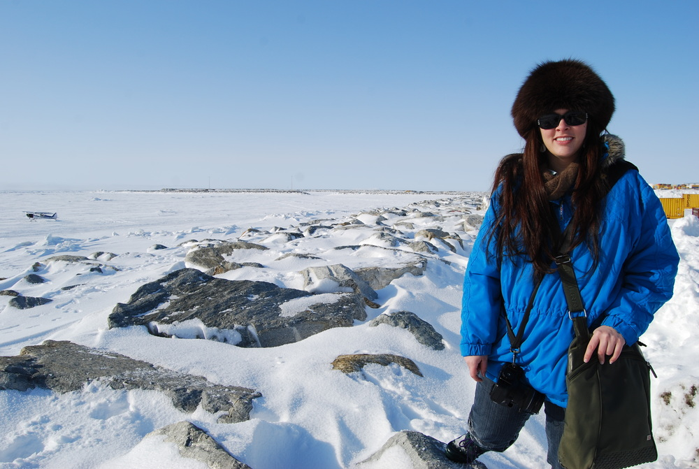 Standing west of Nome, with the frozen solid Bering Sea in the background.