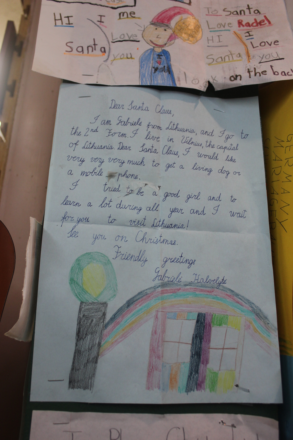 A letter from Lithuania.  Little Miss Gabriele grew up to become her country's penmanship laureate.