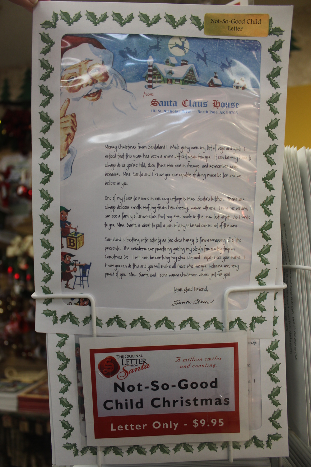 Has your kid been naughty this year?  A fear-inducing letter from Santa should do the trick.