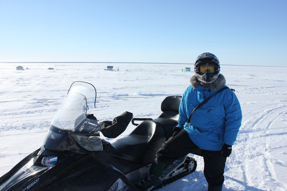 Taking a short break on the frozen Bering Sea.