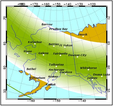 Forecast map from the Geophysical Institute.