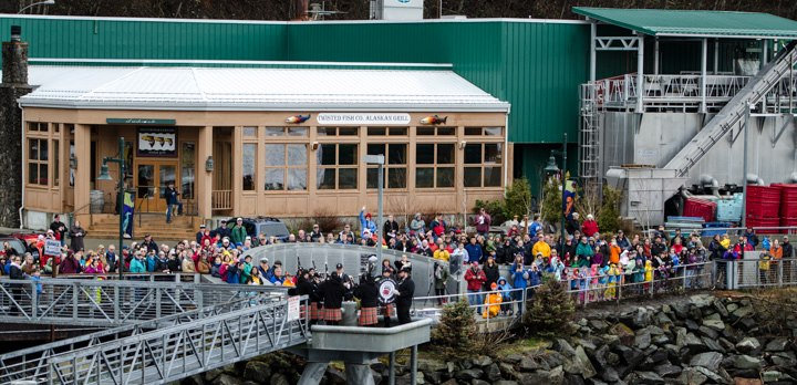 View of the Blessing of the Fleet congregation as seen from the MV Malaspina.  Photo courtesy of Becky Nelson.