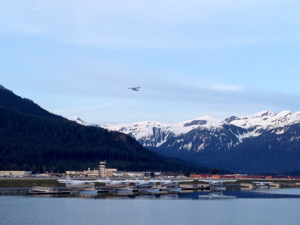 Great evening view of the float planes while on a hike at the Juneau Airport Dike Trail.