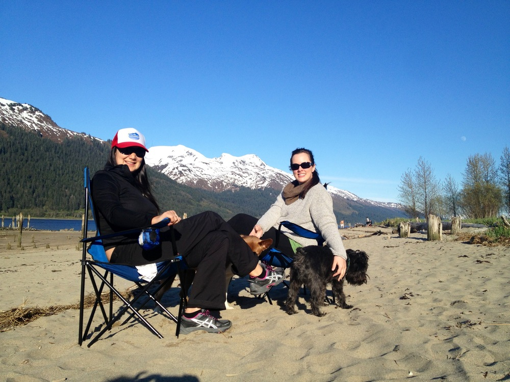 Our version of sunbathing includes sweaters, qiviut scarves, and glam shades.  We were almost blinded by the sun.