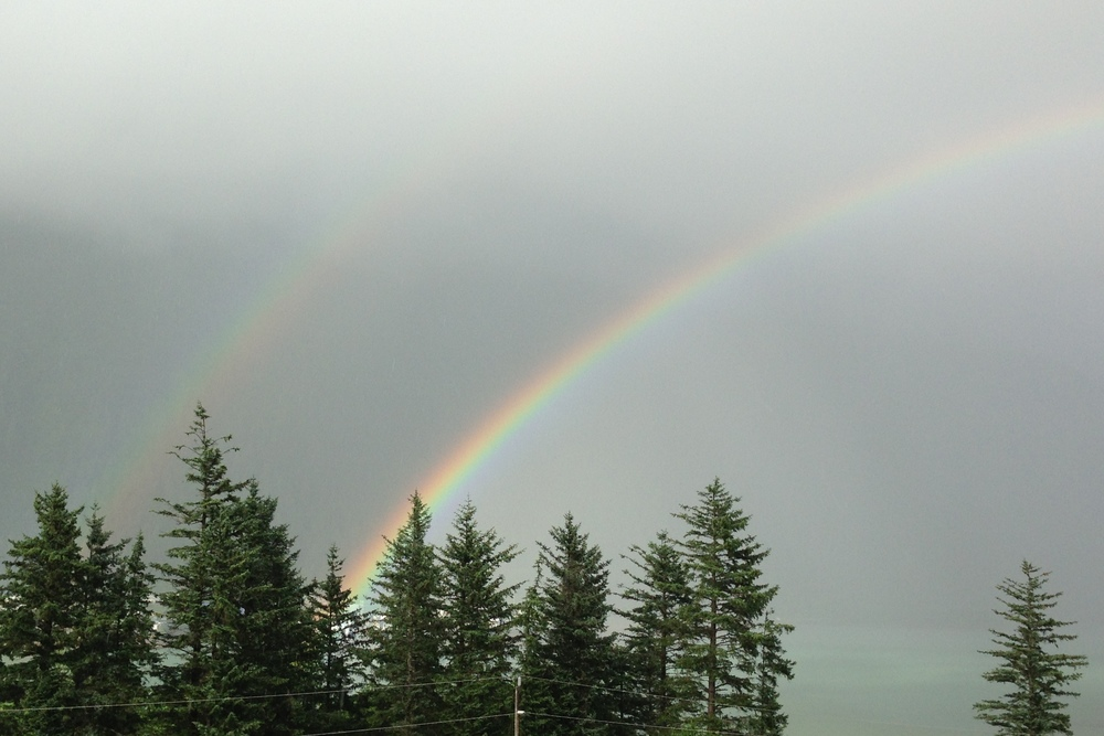 Partial view of double rainbow, as seen from Douglas Island.
