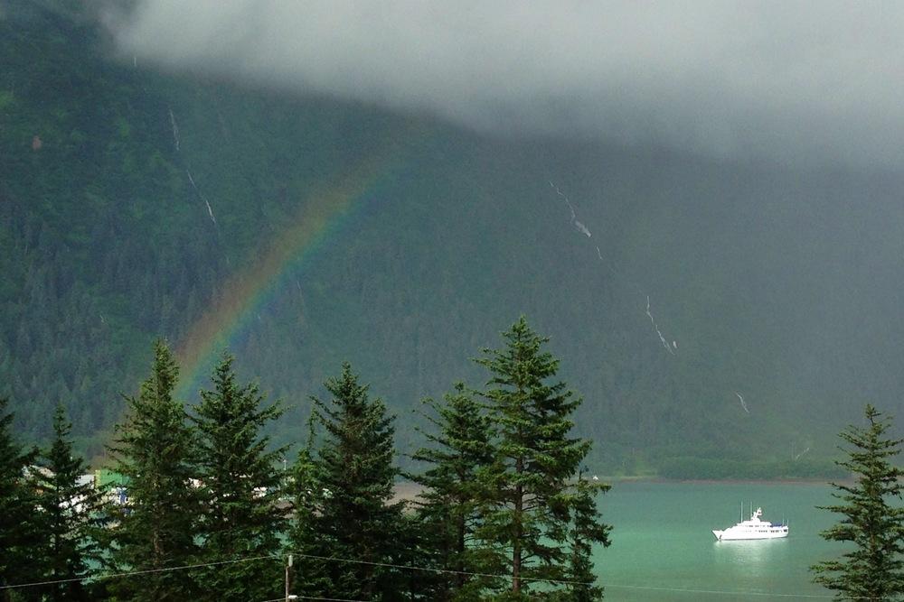 Gastineau Channel + yacht + rainbow = Alaska's playground