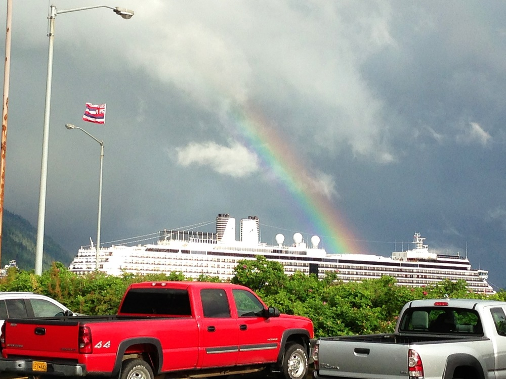 A rainbow and a massive cruise ship, as seen from The Alaska Club, a Juneau fitness center.