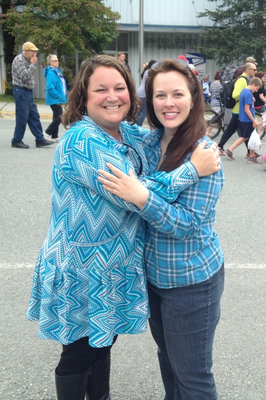 Cozying up to my friend, Kathy, who's wearing the beautiful kuspuk my mother made especially for her.  She looks amazing!