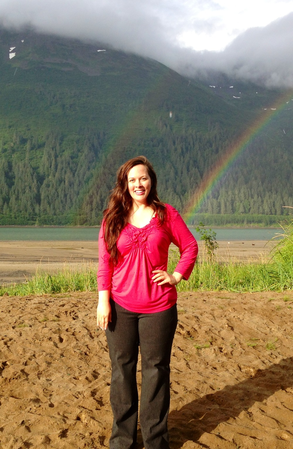 A woman... at the end of her rainbow.